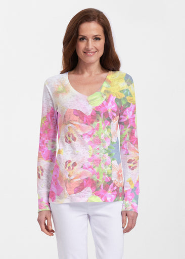 Mirage Pink (13140) ~ Thermal Long Sleeve V-Neck Shirt