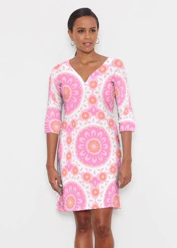 Suzani Pink (13160) ~ Classic 3/4 Sleeve Sweet Heart V-Neck Dress