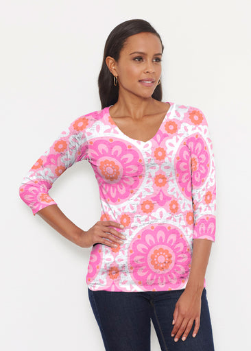 Suzani Pink (13160) ~ Signature 3/4 V-Neck Shirt