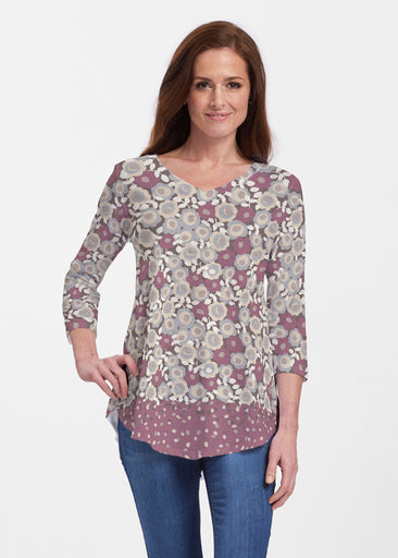 Berry Burgundy (13175) ~ V-neck Flowy Tunic