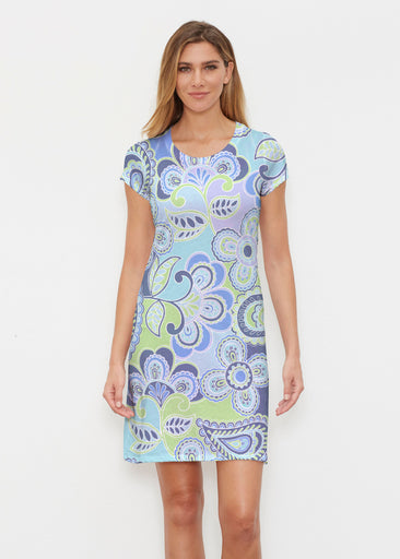 Pop Paisley Blue (13233) ~ Classic Crew Dress
