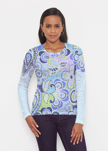 Pop Paisley Blue (13233) ~ Signature Long Sleeve Crew Shirt