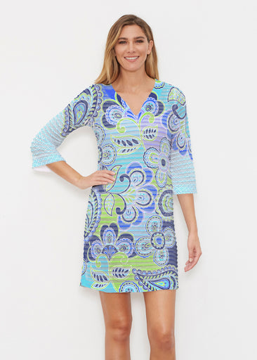 Pop Paisley Blue (13233) ~ Banded 3/4 Sleeve Cover-up Dress