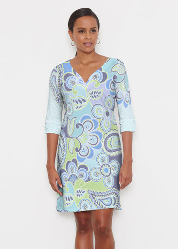 Pop Paisley Blue (13233) ~ Classic 3/4 Sleeve Sweet Heart V-Neck Dress