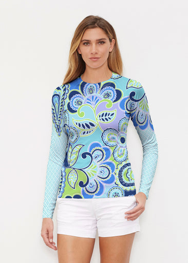 Pop Paisley Blue (13233) ~ Long Sleeve Rash Guard