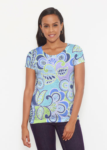 Pop Paisley Blue (13233) ~ Signature Short Sleeve Scoop Shirt