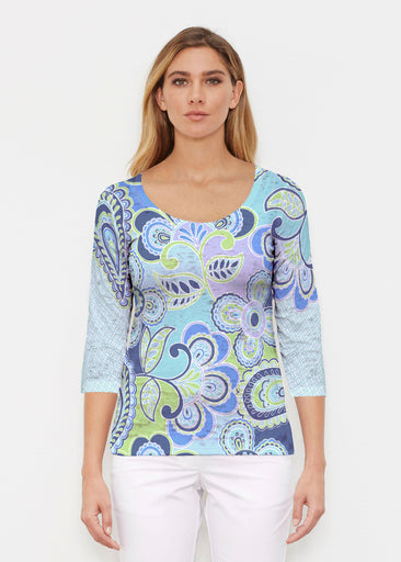Pop Paisley Blue (13233) ~ Signature 3/4 Sleeve Scoop Shirt