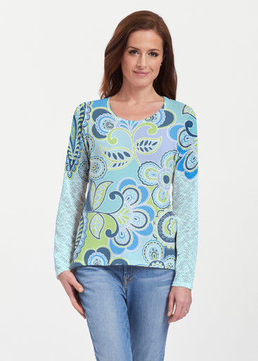 Pop Paisley Blue (13233) ~ Texture Mix Long Sleeve