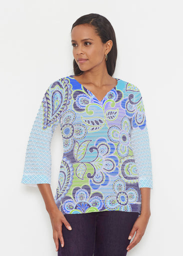 Pop Paisley Blue (13233) ~ Banded 3/4 Bell-Sleeve V-Neck Tunic