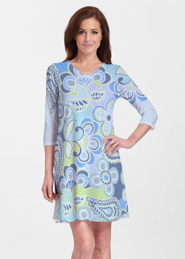 Pop Paisley Blue (13233) ~ Classic V-neck Swing Dress