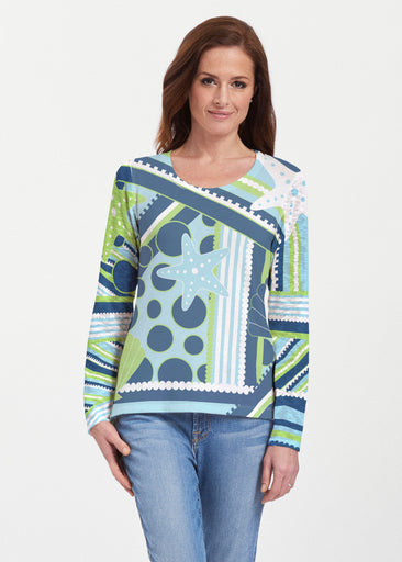 Starfish Aqua (13234) ~ Texture Mix Long Sleeve