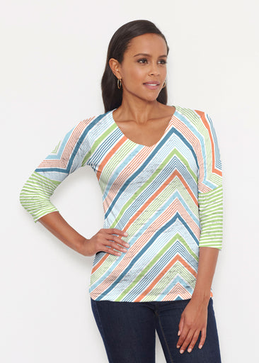 Beach Stripe White (13236) ~ Signature 3/4 V-Neck Shirt