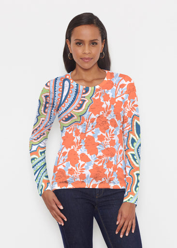 Harbor Paisley Orange (13237) ~ Signature Long Sleeve Crew Shirt