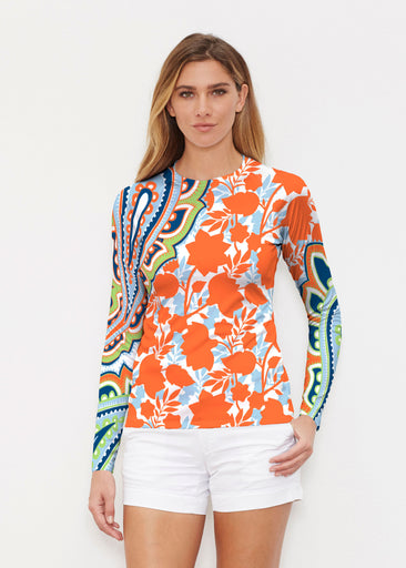 Harbor Paisley Orange (13237) ~ Long Sleeve Rash Guard
