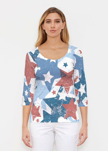 Freedom Starburst (13245) ~ Signature 3/4 Sleeve Scoop Shirt