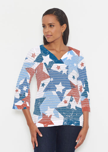 Freedom Starburst (13245) ~ Banded 3/4 Bell-Sleeve V-Neck Tunic