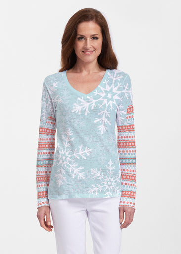 Snowstorm Mint (13251) ~ Thermal Long Sleeve V-Neck Shirt