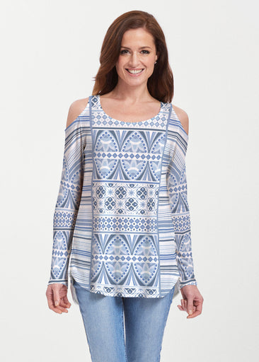 Sprout Blue (13271) ~ Cold Shoulder Tunic