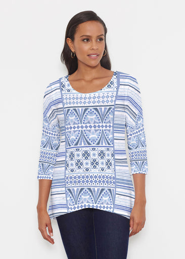 Sprout Blue (13271) ~ Katherine Hi-Lo Thermal Tunic