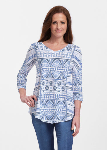 Sprout Blue (13271) ~ V-neck Flowy Tunic
