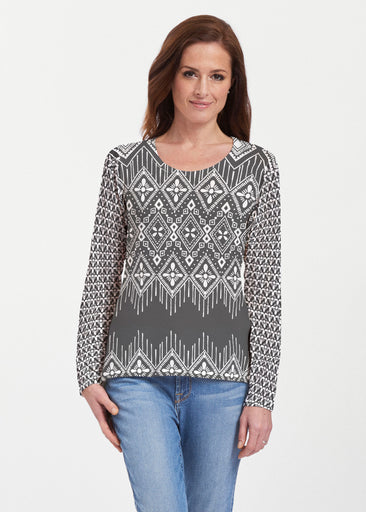 Tapestry Black (13273) ~ Texture Mix Long Sleeve