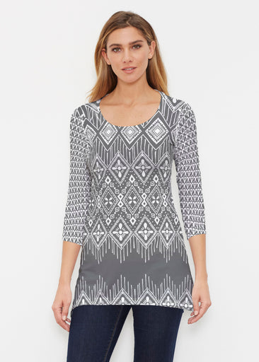 Tapestry Black (13273) ~ Buttersoft 3/4 Sleeve Tunic