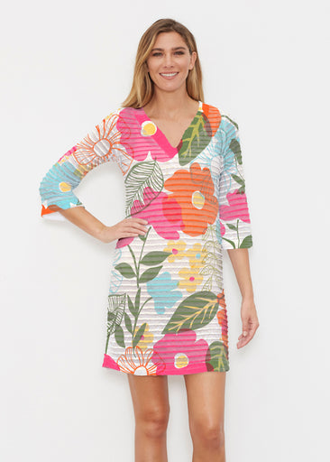Awakening Multi (13280) ~ Banded 3/4 Sleeve Cover-up Dress