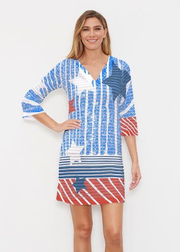 New World Blue (13296) ~ Banded 3/4 Sleeve Cover-up Dress
