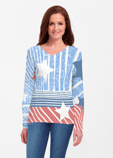 New World Blue (13296) ~ Classic V-neck Long Sleeve Top