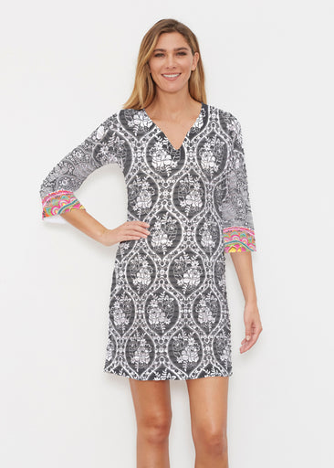 Moonlit Floral (13315) ~ Banded 3/4 Sleeve Cover-up Dress