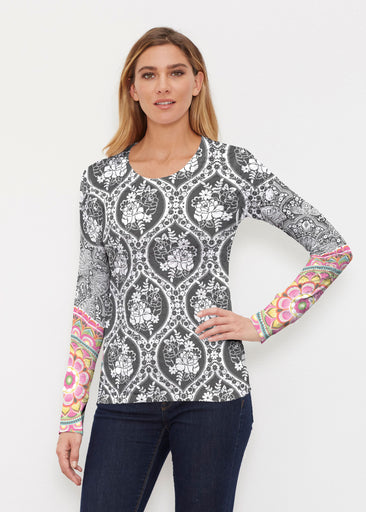Moonlit Floral (13315) ~ Thermal Long Sleeve Crew Shirt