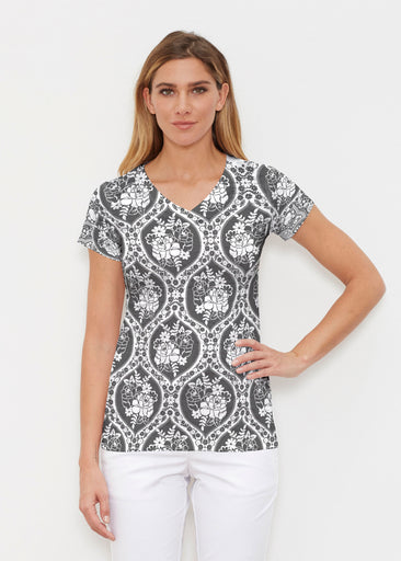 Moonlit Floral (13315) ~ Signature Cap Sleeve V-Neck Shirt
