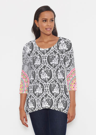 Moonlit Floral (13315) ~ Katherine Hi-Lo Thermal Tunic
