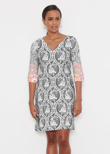 Moonlit Floral (13315) ~ Classic 3/4 Sleeve Sweet Heart V-Neck Dress