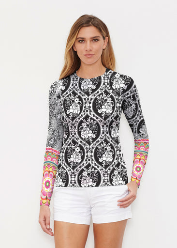 Moonlit Floral (13315) ~ Long Sleeve Rash Guard