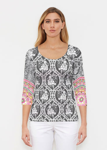 Moonlit Floral (13315) ~ Signature 3/4 Sleeve Scoop Shirt