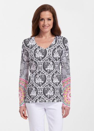 Moonlit Floral (13315) ~ Thermal Long Sleeve V-Neck Shirt