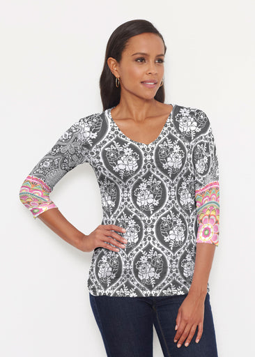 Moonlit Floral (13315) ~ Signature 3/4 V-Neck Shirt