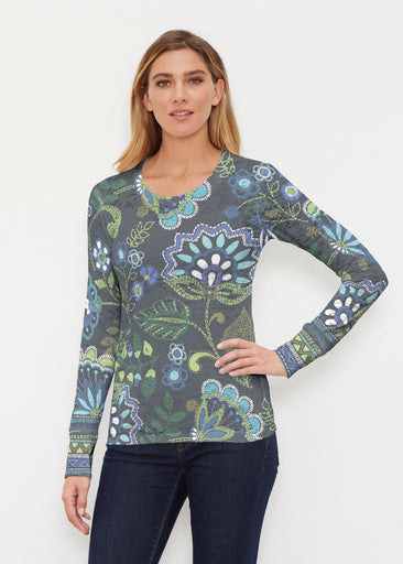 Stitched Floral Black (13321) ~ Thermal Long Sleeve Crew Shirt
