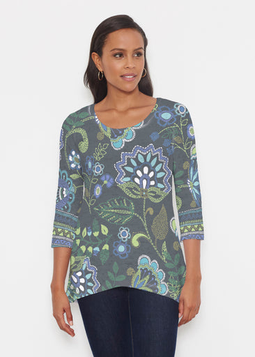 Stitched Floral Black (13321) ~ Katherine Hi-Lo Thermal Tunic