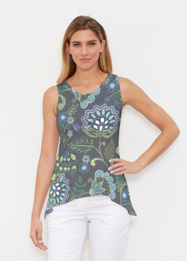 Stitched Floral Black (13321) ~ High-low Tank