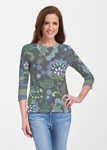 Stitched Floral Black (13321) ~ 3/4 Sleeve Crew