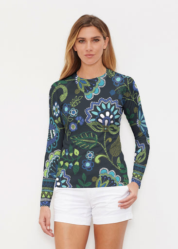 Stitched Floral Black (13321) ~ Long Sleeve Rash Guard
