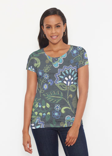 Stitched Floral Black (13321) ~ Signature Short Sleeve Scoop Shirt