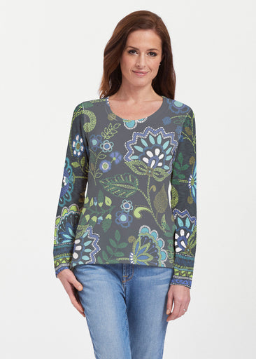 Stitched Floral Black (13321) ~ Texture Mix Long Sleeve