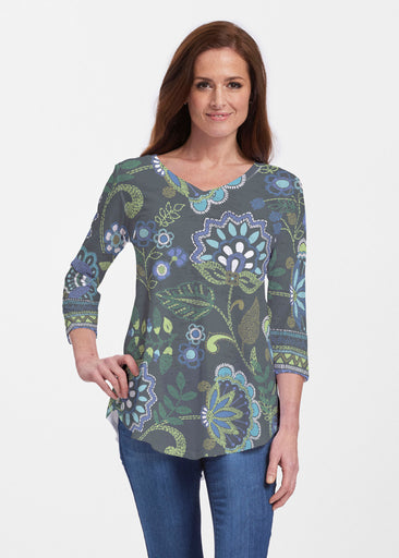 Stitched Floral Black (13321) ~ Signature V-neck Flowy Tunic