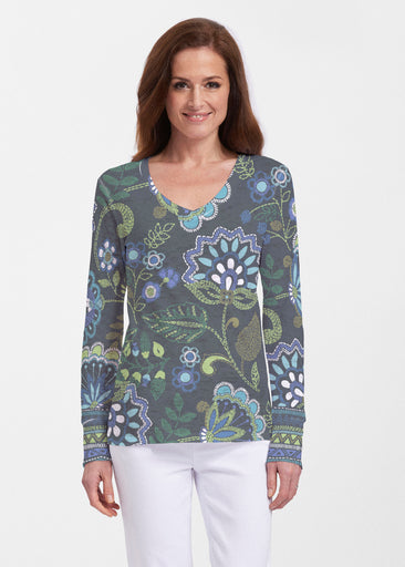 Stitched Floral Black (13321) ~ Thermal Long Sleeve V-Neck Shirt