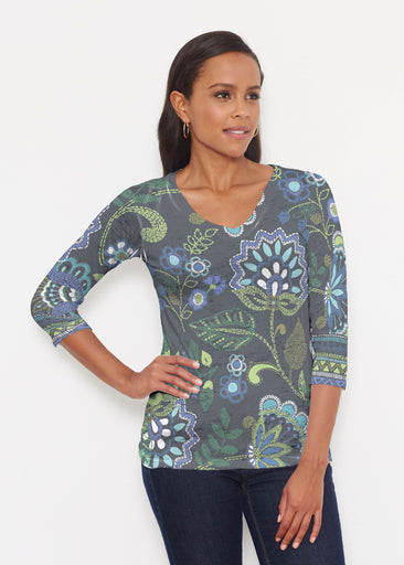 Stitched Floral Black (13321) ~ Signature 3/4 V-Neck Shirt
