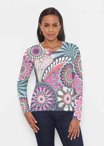 Mod Floral Splash (13323) ~ Signature Long Sleeve Crew Shirt