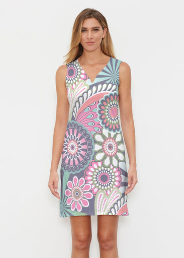 Mod Floral Splash (13323) ~ Classic Sleeveless Dress